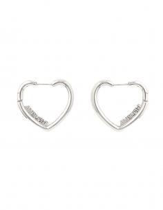 AMBUSH hoop earrings heart with logo in silver - SS21