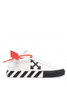 White unisex OFF-WHITE sneakers with black striped sole - SS21
