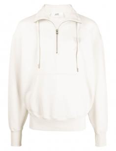 AMI PARIS ecru trucker sweatshirt with tone-on-tone logo for men - SS21