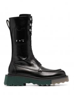 Boots de combat OFF-WHITE noires à plateforme bicolore pour femme - SS21
