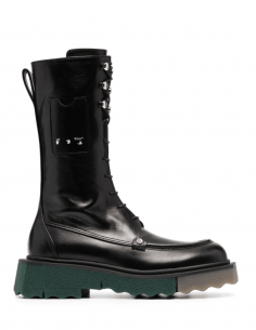 OFF-WHITE black combat boots with two-tone platform for women - SS21