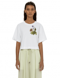 OFF-WHITE white flower print crop top t-shirt for women - SS21