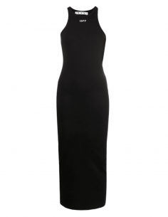 OFF-WHITE long black ribbed tight dress with logo - SS21