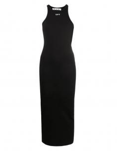 Robe longue OFF-WHITE moulante côtelée noire avec logo - SS21