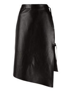 Jupe portefeuille mi-longue OFF-WHITE asymétrique en cuir noir - SS21