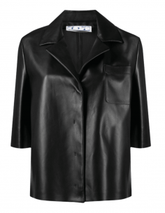 Chemise de bowling OFF-WHITE en cuir noir pour femme - SS21
