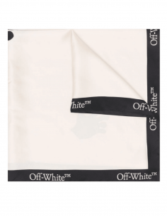 """OFF-WHITE black and white scarf with """"Swimming Man"""" logo for women - SS21"""