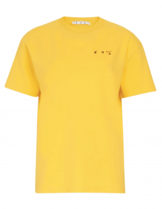 OFF-WHITE yellow t-shirt with flower print on back for women - SS21