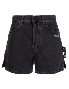 Short court OFF-WHITE en jean gris avec logo pour femme - SS21