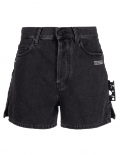 OFF-WHITE grey short cut denim shorts with logo for women - SS21