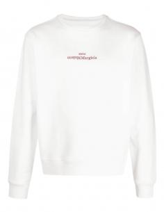 Sweat blanc MAISON MARGIELA avec logo à l'envers pour homme - SS21
