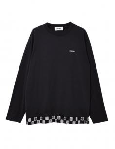 Black long-sleeved AMBUSH t-shirt with emblem and logo for men - SS21