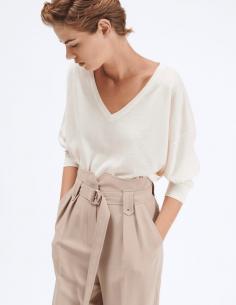 Ecru BARBARA BUI V-neck sweater in merino wool and silk for women - SS21