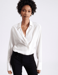 BARBARA BUI shirt in ecru silk with buttons under placket for women - SS21