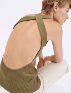 Khaki ribbed tank top BARBARA BUI with opened cross back for women - SS21
