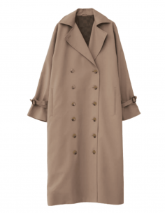 TOTÊME beige signature oversized buttoned trench coat for women - SS21
