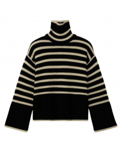 TOTÊME wide black and white striped turtleneck sweater for women - SS21