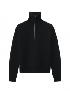 TOTÊME black sweater with zipped high collar for women - SS21