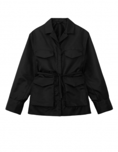TOTÊME black army multi-pocket jacket with belt for women - SS21