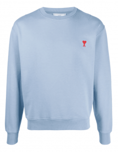 AMI PARIS light blue sweatshirt with round neck and red heart logo - SS21
