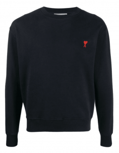 AMI PARIS navy blue sweatshirt with round neck and red heart logo - SS21