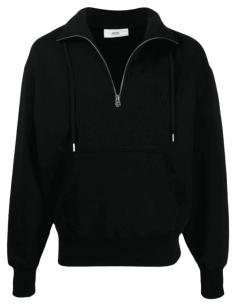 AMI PARIS black trucker sweatshirt with tone-on-tone logo for men - SS21