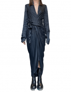 Long wrap dress RICK OWENS in black cupro with bow - SS21