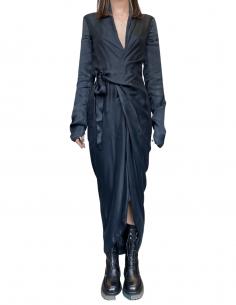 Robe longue cache coeur RICK OWENS en cupro noir avec noeud - SS21