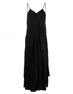 MM6 long black flared dress with straps and open back - SS21