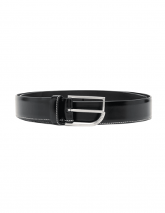 MAISON MARGIELA belt in black leather with topstitching for men - SS21