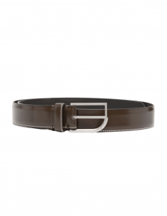 MAISON MARGIELA belt in brown leather with topstitching for men - SS21