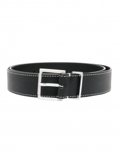 MAISON MARGIELA belt in black grained leather and stitching for men - SS21