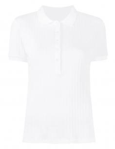 Polo fitté ecru MAISON MARGIELA avec logo poitrine pour femme - SS21