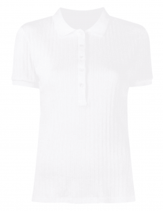 MAISON MARGIELA ecru fitted polo shirt with logo on chest for women - SS21
