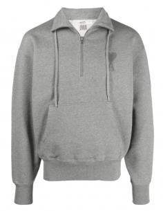 AMI PARIS grey trucker sweatshirt with tone-on-tone logo for men - SS21