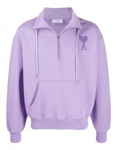 AMI PARIS purple trucker sweatshirt with tone-on-tone logo for men - SS21
