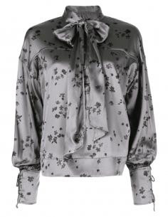 Blouse col lavaliere GANNI grise imprimé fleurs pour femme - SS21