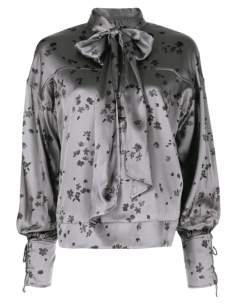 Grey GANNI tie bow collar blouse with flower print for women - SS21