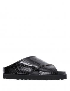 GANNI cross-strap sandals in black patent crocodile for women - SS21