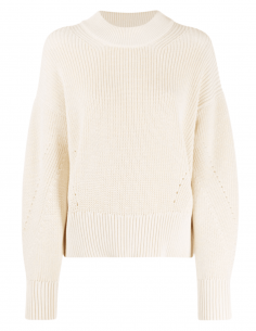 AMI PARIS ribbed knit sweater in ecru cotton for women - SS21