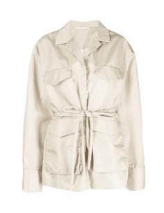 TOTÊME ecru army multi-pocket jacket with belt for women - SS21