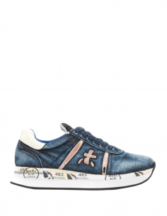 "PREMIATA ""Conny"" platform trainers in used blue denim for women - SS21"