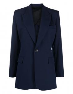 Veste longue AMI PARIS bleue 1 bouton avec fentes pour femme - SS21