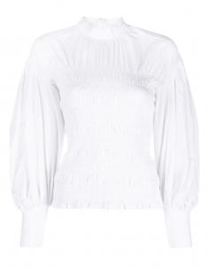 Blouse GANNI smocké blanche avec manches bouffantes pour femme - SS21