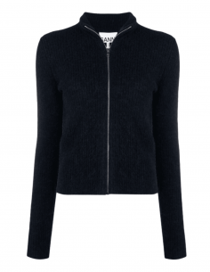 Blue zipped GANNI cardigan in wool and alpaca with mitten finishes - SS21