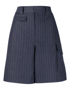 Blue GANNI striped flared stretch shorts with pockets for women - SS21