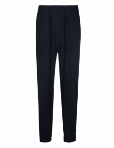 Blue GANNI jogging pants with ankle snaps for women - SS21