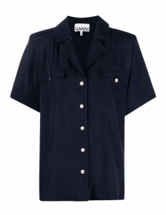 Blue GANNI buttoned shirt with pockets for women - SS21
