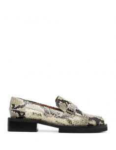 GANNI python-style mocassins in leather with ornament for women - SS21