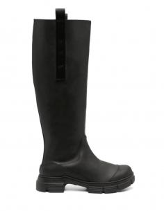 Black rubber GANNI high boots for women - SS21